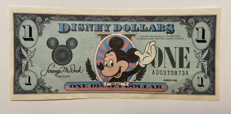 DISNEY DOLLAR 1988 SERIES A $1 MICKEY MOUSE