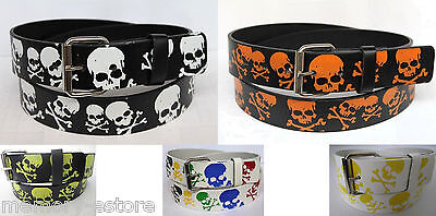 New Skull & Crossbones Printed Leather Belt Unisex Mens & Womens Goth - Skull Crossbones