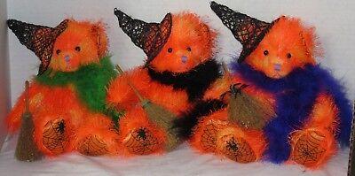 Russ Berrie optic bright orange fuzzy Halloween witch bear MOONLIGHT spider web (Fuzzy Spiders)