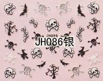 Halloween Schwarz Schädelknochen Fledermäuse Hexen Silbern Stecker 3D Nail Art