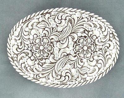 Nocona Western Womens Belt Buckle Floral Silver 37540
