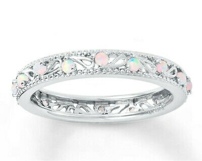 Women Bride White Floral Opal Ring Engagement Wedding Fashion Jewelry (Floral Wedding Ring)