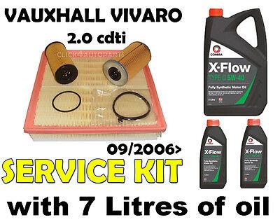 Vauxhall Vivaro 2.0 cdti Diesel MR9 Oil Air Fuel Filter + Oil Service Kit 2006