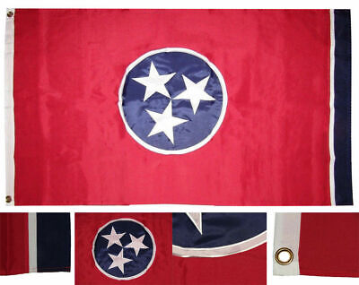 5x8 Embroidered Sewn State of Tennessee 600D Nylon Flag 5'x8'