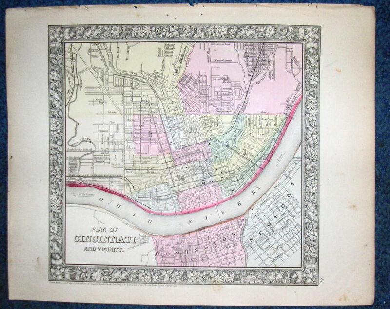 Original 1860 Mitchell Map PLAN OF THE CITY OF CINCINNATI, Covington