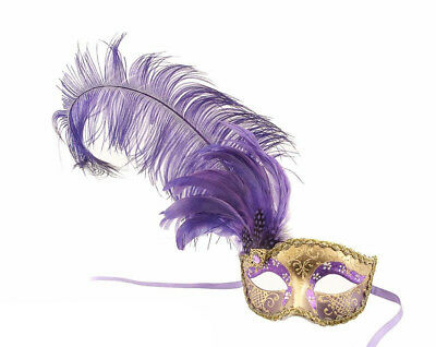 Mask from Venice Colombine in Feathers Ostrich Purple Golden French Can - 853