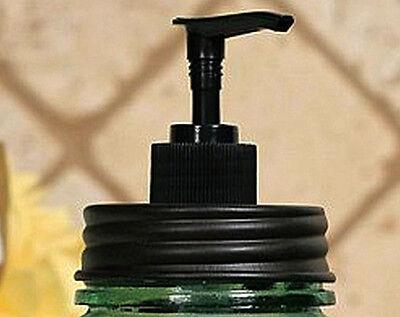 Unique Rustic Vintage Black MASON Fruit Jar Soap Lotion Dispenser LID and PUMP