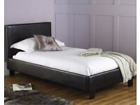 *14-DAY MONEY BACK GUARANTEE!* Single Leather Bed with ECO-Sprung Mattress- SAME/NEXT DAY DELIVERY!