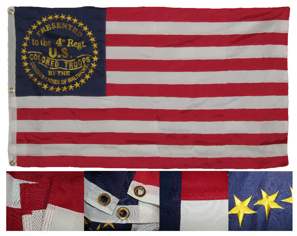 3x5 Embroidered USCT Maryland 4th Division 600D 2 Ply Nylon