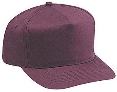 Cotton Twill Five Panel Pro Style Caps, Maroon - Pro Style Cotton Twill Cap