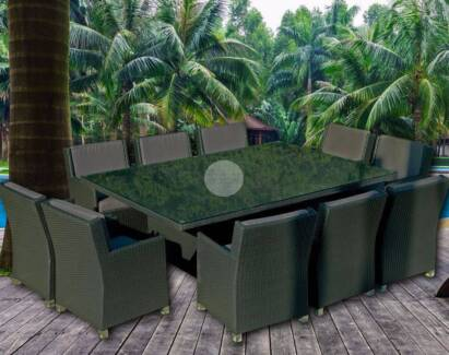 Large 10 Seater Rattan Wicker Outdoor Dining Setting Charcoal Nerang Gold Coast West Preview