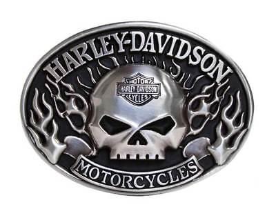 Harley-Davidson Mens Belt Buckle Immunity Flame Willie G Skull Silver (Mens Silver Belt Buckles)