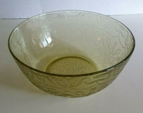 Vintage Madrid Federal Depression Glass Serving Bowl Yellow Amber