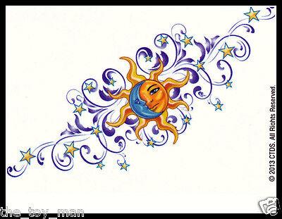 Moon Tattoo - LOWER BACK SHOULDER TEMPORARY TATTOO~CELESTIAL SUN HALF BLUE MOON STAR FOR WOMEN