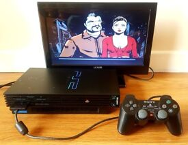 Sony PlayStation 2 FAT (PS2), Dual Shock 2 Controller, Grand Theft Auto 3, power & Composite cable