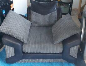 Grey jumbo cord chair