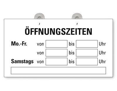 """Türschild Fensterschild """"Öffnungszeiten"""" Schild  mit 2 Saugnäpfen"""