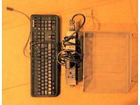 Computer Keyboard, Extension Lead & paper tray