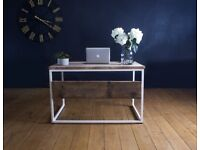 Reclaimed Wood Desk with White Powder Coated Steel Frame