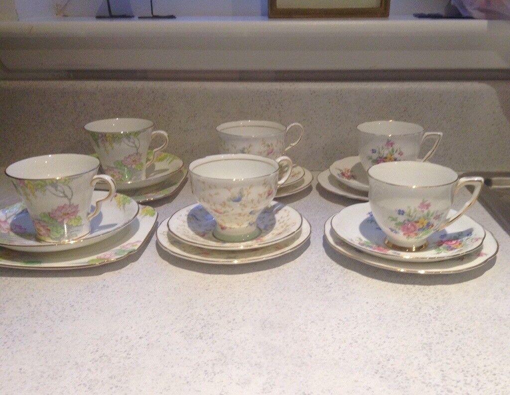 Vintage Fine China Tea Cups, Saucers and tea plates