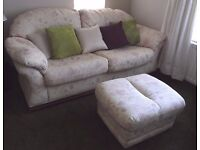 Three seater sofa, two seater sofa and pouffe