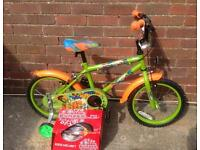 "New Kids Urban Rider BMX style bike 16"" comes with new Bumper helmet"