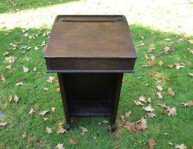 Vintage Oak School Desk With Original Inkwell Unusual Design VGC