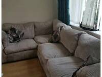 Corner sofa and cuddle chairs with footrest