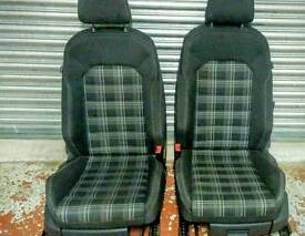 VW GOLF MK7 GTD 2015 SPORTS CLOTH CHEQUERED INTERIOR FRONT AND REAR SEATS