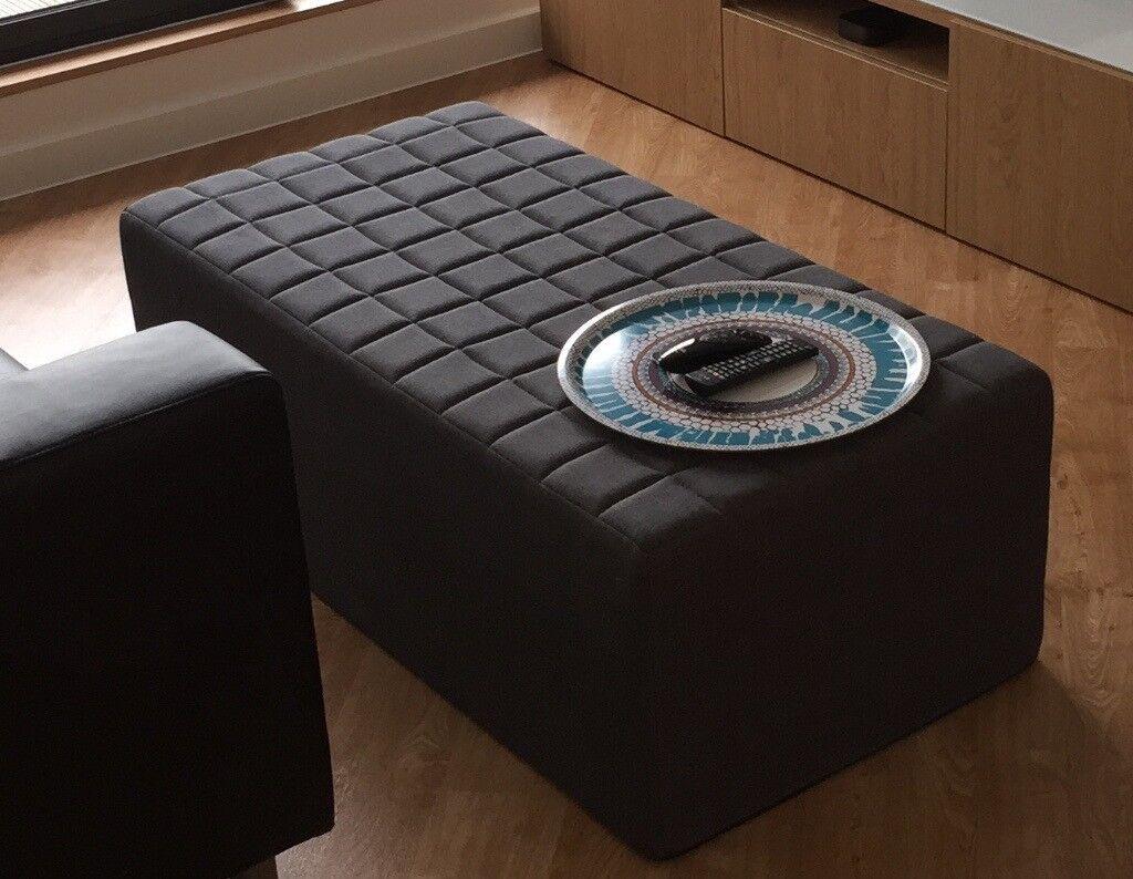 John Lewis Kix Cube Double Fold Out Foam Bed Footstool Seat Charcoal Grey