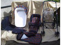 Mamas & Papas Carrycot / Pram plus Pushchair unit with wheeled folding chassis set
