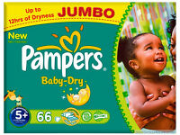 PAMPERS BABY DRY JUMBO PACK 5+ 66 NAPPIES