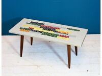 Belgian Modernist 1960s Mosaic Coffee Table on Atomic Legs Vintage Retro