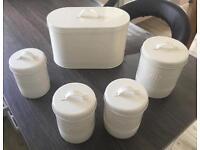 Kitchen storage- Bread Tea Coffee Sugar Biscuits - in Ivory White