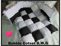 BWG New Handmade Babies 2 piece Cotset Cot bed Bumper Blanket Quilt Bedding
