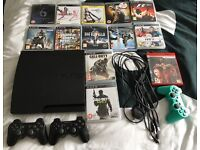 PS3 with 3 controllers and 13 games for sale