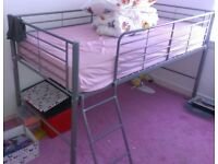 Silver Metal Framed Mid Sleeper Single Bed