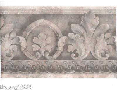 Leaf Scroll Wall Border (Traditional Architectural Grey Silver Acanthus Leaf Scroll Wall paper Border )
