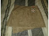 Boohoo A Line Skirt Size M Suede/Leather New With Tags