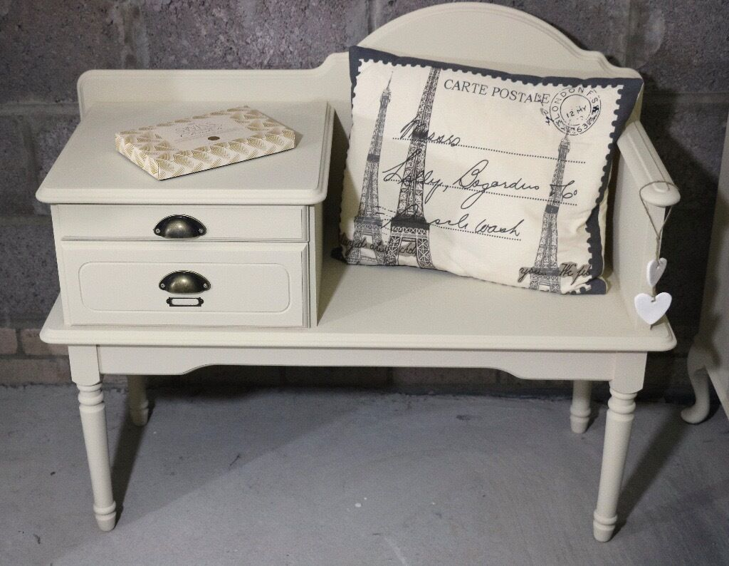 Vintage Chic Telephone Seat Gossip Bench With Pull Out