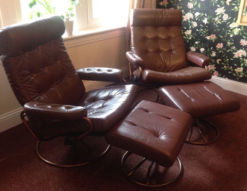 Pair Of Genuine Vintage 1970 S Ekornes Norway Leather Stressless Recliners With Footstools