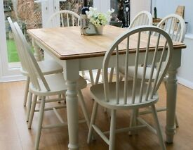 STUNNING, SHABBY CHIC, 5 ft, FARMHOUSE, DINING TABLE & SIX CHAIRS - F & B paint - Off White