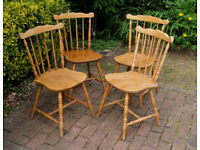 Set of Four - Beech Traditional - Country Style - Stick Back Dining Chairs