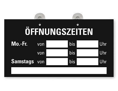 """Türschild Fensterschild """"Öffnungszeiten"""" Schild  mit 2 Saugnäpfen schwarz"""