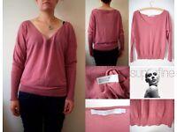 SUPERFINE Designer Pink Fine Silky Cotton Knit Jumper 2 10 38 NEW £65