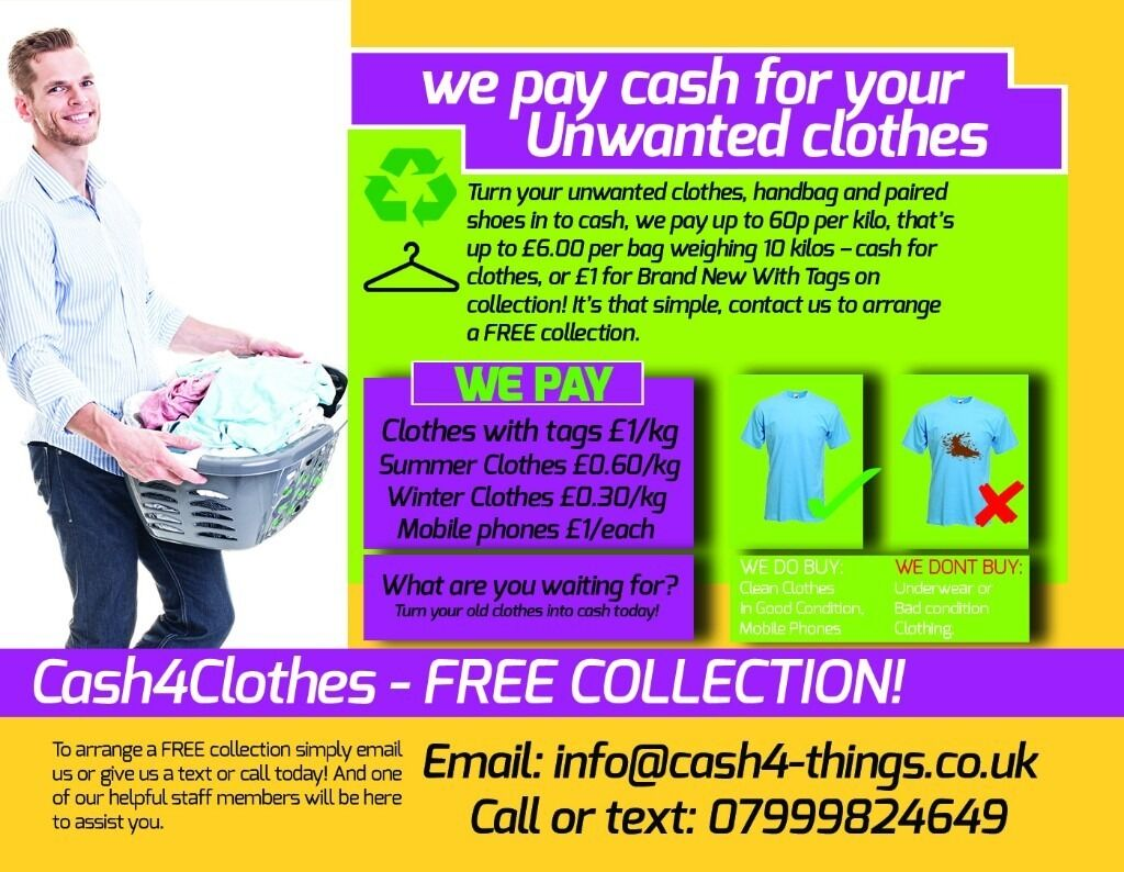 Cash for Clothes, 60p/kg free collection in Colchester | in ...