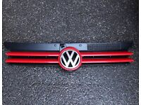 VW GOLF MK4 UP TO 2004 FRONT CENTRE MIDDLE BUMPER GRILLE GRILL & BADGE RED