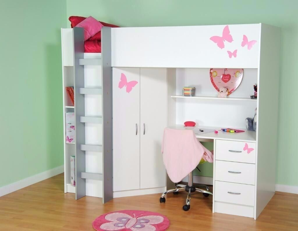 High Sleeper Bed with Desk & Wardrobe Loft Bed Kids Bed ...