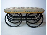 Beautiful hand carved and steel with four wheels console table