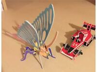 36 x 3D Puzzles Racing Car/Butterfly Brand New